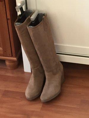 Stiefel Wildleder mit Keilabsatz beige camel 40 einmal getragen