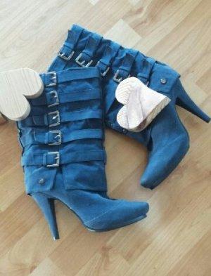 Stiefel Wildlederoptik blau mit Pfennigabsatz