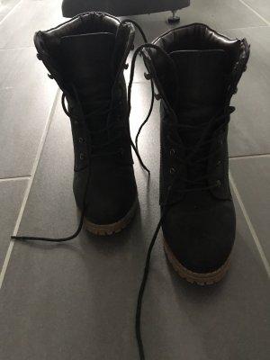 Bottines à lacets noir-brun