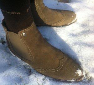Slip-on Booties grey brown leather