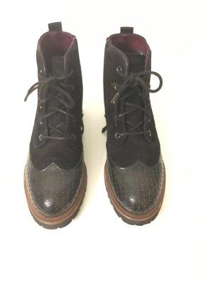 Stiefelette Größe 37, Tamaris, schwarz, Schnürschuhe, Leder und Wildlederoptik,