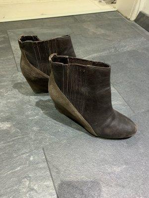 French Connection Botas de tobillo marrón oscuro-marrón Cuero