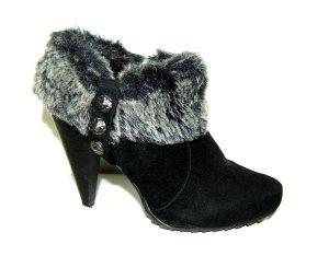 Stiefelette mit Pelz - Ankle Boots - schwarz von Graceland - Gr. 40