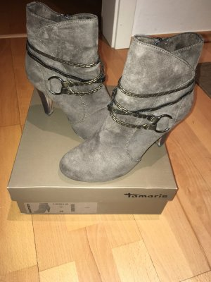 Tamaris Platform Booties grey brown