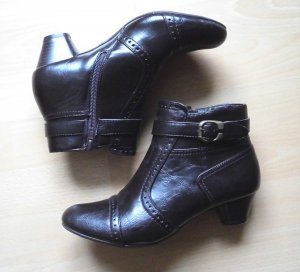 Blue Motion Zipper Booties dark brown imitation leather