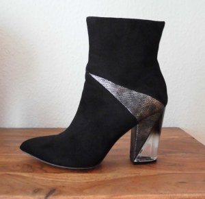 Truffle Zipper Booties black-silver-colored imitation leather