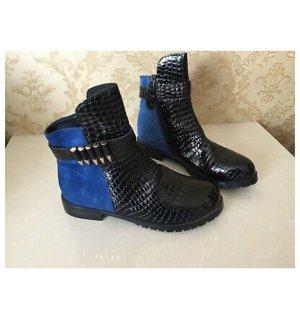 Hermès Stivaletto nero-blu neon Pelle