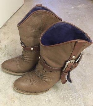 Vera Gomma Botines estilo vaquero camel-marrón claro
