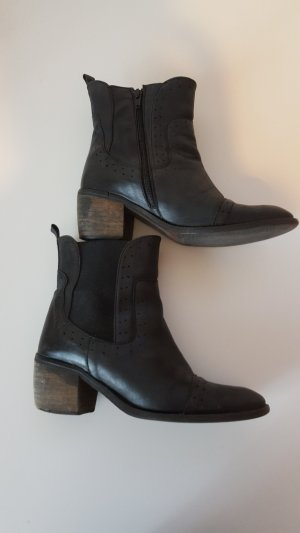 Zipper Booties black-brown leather