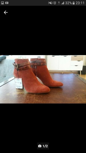 Zara Bottines orange foncé daim