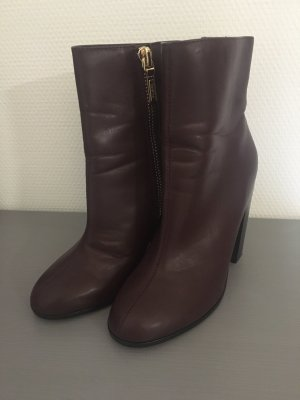 Bershka Peep Toe Booties black-bordeaux