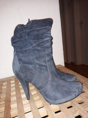 5th Avenue Zipper Booties slate-gray-pale blue