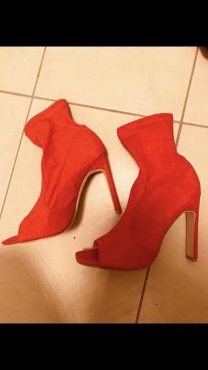 Public Desire Peep Toe Booties red suede