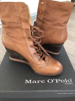 Marc O'Polo Stivaletto con zeppa cognac-marrone Pelle