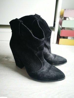 Stiefeletten Ankle Boots Zara 37 Echtleder echtes Leder Wildleder schwarz Cowboystiefel