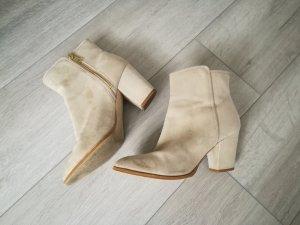 Stiefeletten Boots Booties Wildleder Imitat beige