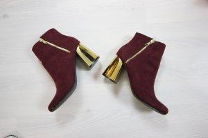 Stiefeletten Boots High Heels mit gold metallic Absatz
