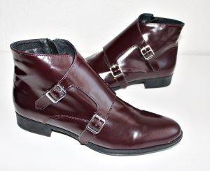 Stiefeletten Boots Leder rot bordeaux * Neu* 40