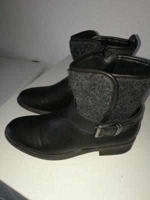 Stiefeletten / Boots schwarz Materialmix NEU Gr.38