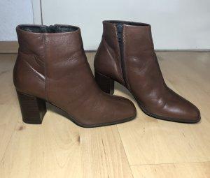 Stiefeletten, braun, Ankle Boots, Blockabsatz, Leder, Gr. 38, Drievholt