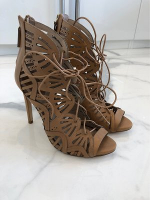 Zara Woman Patucos con punta abierta marrón claro-coñac