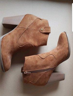 Graceland Zipper Booties brown-cognac-coloured