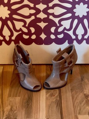 Topshop Peep Toe Booties green grey
