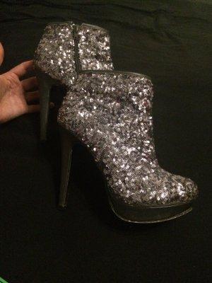 Stiefeletten Catwalk in 38 silber/grau/schwarz mit pailletten/glitze/schimmernd