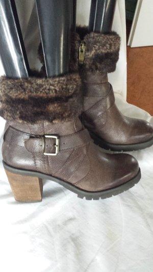 5th Avenue Zipper Booties dark brown leather