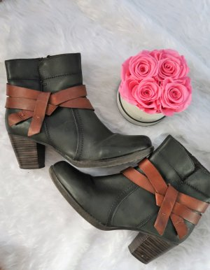 Stiefeletten Gr 40 grün braun Echtleder gefüttert Stiefel Booties Ankle Boots