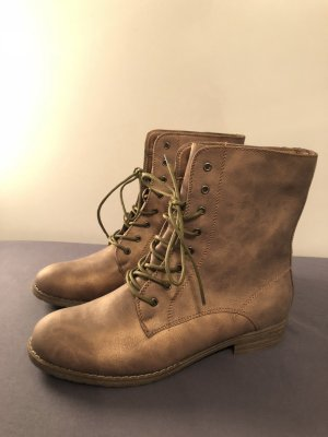 Lace-up Booties bronze-colored