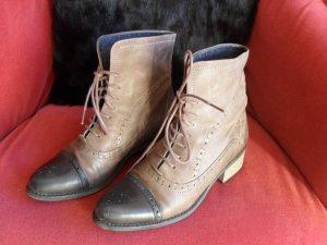 Lace-up Booties grey brown-black