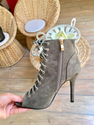 Peep Toe Booties gold-colored-green grey