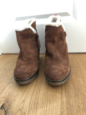 Boden Winter Booties cognac-coloured-natural white suede