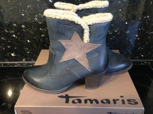 Tamaris Bottines à fermeture éclair bleu foncé-bleu acier cuir