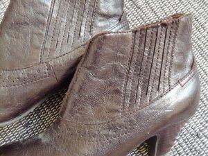 Stiefeletten, Leder, schwarz-braun, Ancle-Boots, Absatz