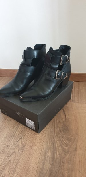 Another A Cut Out Booties black-silver-colored leather