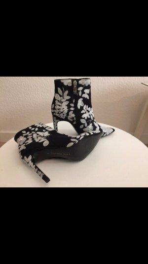 Zara Bottines à fermeture éclair noir-blanc