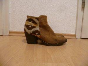 Stiefeletten mit buntem Muster, Wildleder, Boho, Hippie, Aztek, Used,Ankle Boots