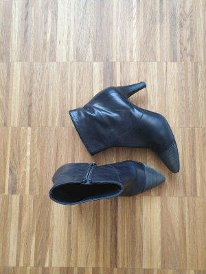 Bottines noir-argenté cuir