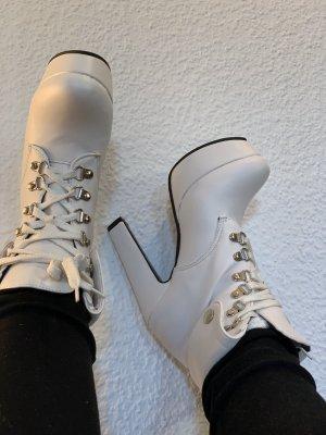 Platform Booties white imitation leather