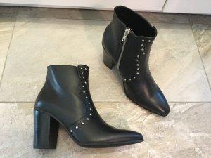 Mango Booties black-light grey leather
