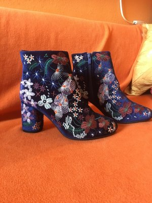 Zipper Booties dark blue textile fiber