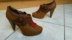Graceland Botas de tobillo marrón-rojo Imitación de cuero