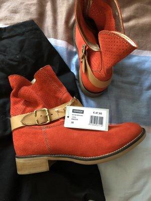 Stiefeletten rot orange Leder 38
