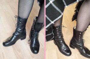 Stiefeletten Schnür Stiefel Budapester Echtleder Schwarz 38 hochwertig Italy