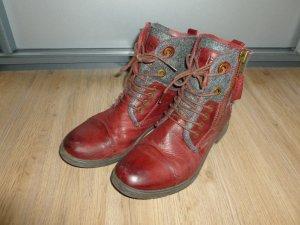Stiefeletten Schuhe rot grau bugatti