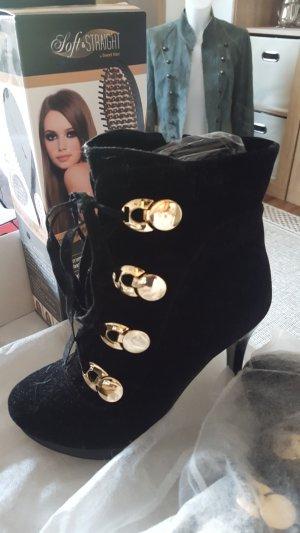 Plateauzool laarsjes zwart-goud