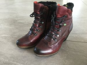 Snipe Wedge Booties brown red-carmine leather