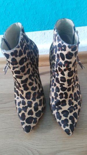 Stiefeletten Stiefel Fell Leo Leopard Heels